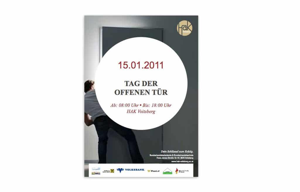 Tag der offenen tür plakat design  Design macht Schule: HAK Voitsberg - Kufferath | Agentur für ...